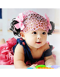 Fashion Pink Hollow Out Design Bowknot Child Wig