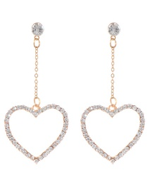 Fashion Gold Color Heart Shape Pendant Decorated Long Earrings