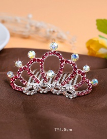 Lovely Pink Round Shape Decorated Crown Hairpin (larger)