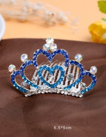 Lovely Blue Heart Shape Decorated Crown Hairpin (larger)