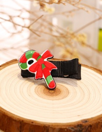 Fashion Red+green Crutch Shape Decorated Christmas Hairpin