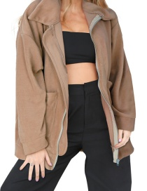 Fashion Khaki Pure Color Decorated Long Sleeves Coat