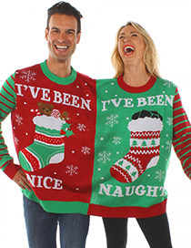 Fashion Red+green Christmas Socks&beer Pattern Decorated Couples Sweater(1pc)