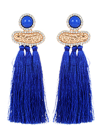 Fashion Sapphire Blue Diamond Decorated Long Tassel Earrings