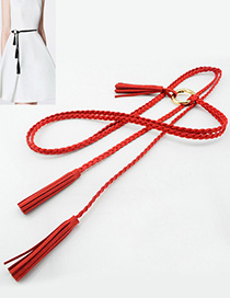 Fashion Red Tassel Decorated Belt