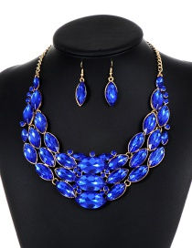 Fashion Sapphire Blue Oval Shape Diamond Decorated Jewelry Sets