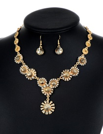 Lovely Champagne Flower Shape Decorated Jewelry Sets