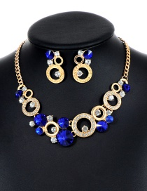 Fashion Sapphire Blue Round Shape Decorated Hollow Out Jewelry Sets