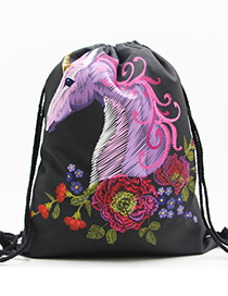 Lovely Black Unicorn&flower Pattern Decorated Backpack