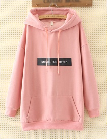 Fashion Pink Letter Decorated Long Hoodie