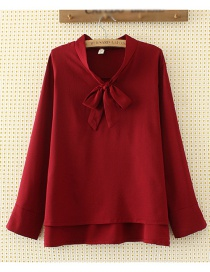 Elegant Claret-red Bowknot Shape Decorated Shirt