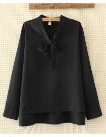 Elegant Black Bowknot Shape Decorated Shirt