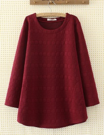 Elegant Claret-red Round Shape Decorated Blouse