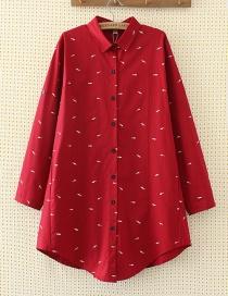 Elegant Red Fish Shape Decorated Shirt