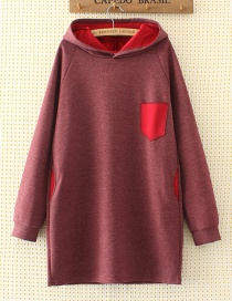 Fashion Purple+red Color-matching Decorated Hoodie