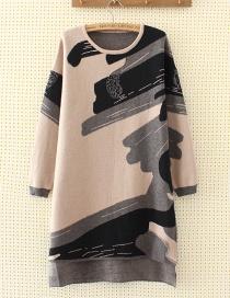 Fashion Gray+black Color-matching Decorated Long Blouse
