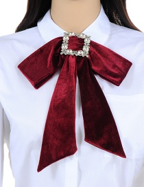 Elegant Claret-red Square Shape Decorated Bowknot Necklace