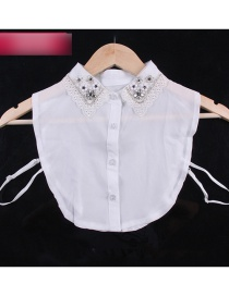 Fashion White Flower Shape Decorated Lace Fake Collar