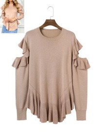 Sexy Light Pink Hollow Out Decorated Sweater