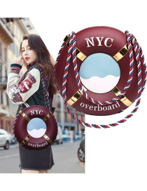 Personality Claret-red Lifebuoy Decorated Bag