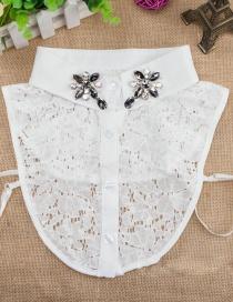 Fashion White Water Drop Shape Decorated Fake Collar