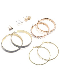 Fashion Gold Color Circular Ring Shape Decorated Earrings ( 12 Pcs )