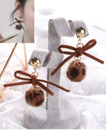 Lovely Brown Bowknot Decorated Earrings