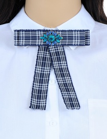 Elegant Navy Color-matching Decorated Bowknot Brooch