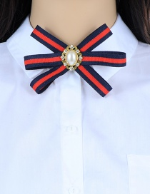 Elegant Red+navy Oval Shape Decorated Bowknot Brooch