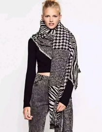 Fashion Black+white Color-matching Decorated Scarf