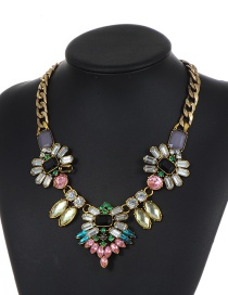 Fashion Multi-color Square Shape Diamond Decorated Necklace