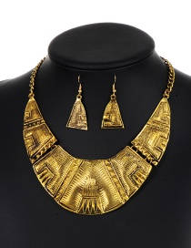 Elegant Gold Color Triangle Shape Decorated Jewelry Sets