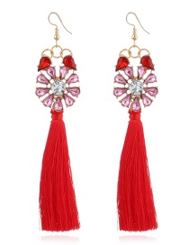 Bohemia Red Flower Shape Decorated Tassel Earrings