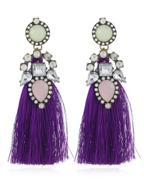 Bohemia Purple Geometric Shape Diamond Decorated Tassel Earrings