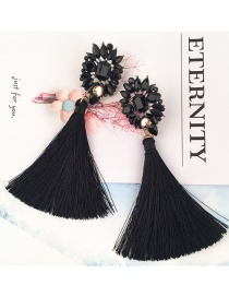 Elegant Black Square Shape Diamond Decorated Tassel Earrings