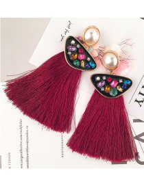 Elegant Red Triangle Shape Decorated Earrings