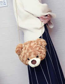 Fashion Light Brown Bear Shape Decorated Shoulder Bag