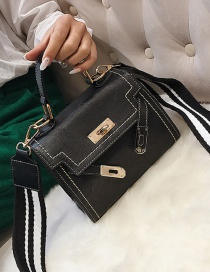 Fashion Black Lock Decorated Shoulder Bag