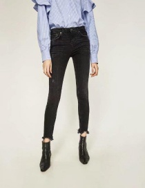 Fashion Black Pure Color Deocrated Jeans