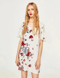 Fashion White Flower Pattern Decorated V Neckline Dress
