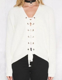 Fashion White Bandage Decorated Sweater