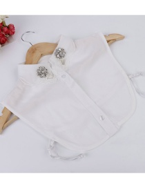 Fashion White Flower Shape Decorated Fake Collar