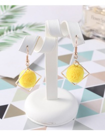 Fashion Yellow Pom Ball Shape Decorated Earrings