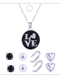 Fashion Silver Colour Letter Pattern Decorated Jewelry Set ( 9 Pcs )