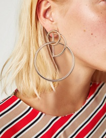 Fashion Gold Colour Circular Ring Shape Decorated Earrings