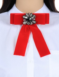 Fashion Red Flower Shape Decorated Bowknot Brooch