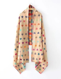 Fashion Khaki Heart Pattern Decorated Scarf