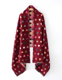 Fashion Red Heart Pattern Decorated Scarf