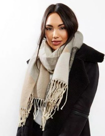 Fashion Khaki Tassel Decorated Scarf