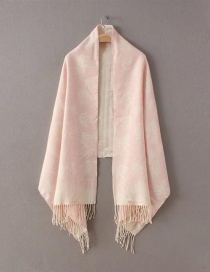 Fashion Light Pink Flower Pattern Decorated Scarf